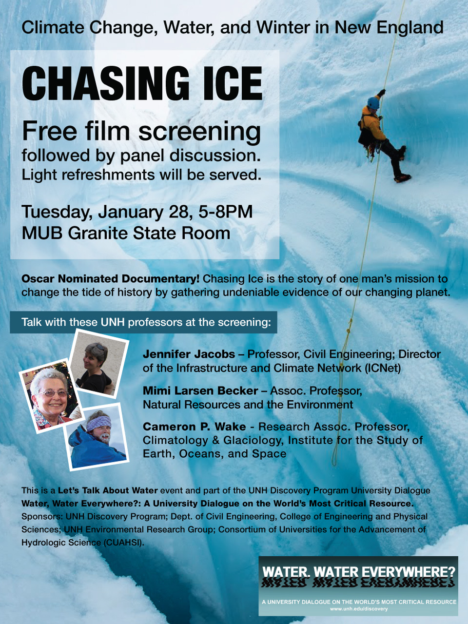 UNH Event - January 28, 2014 - Chasing Ice Poster